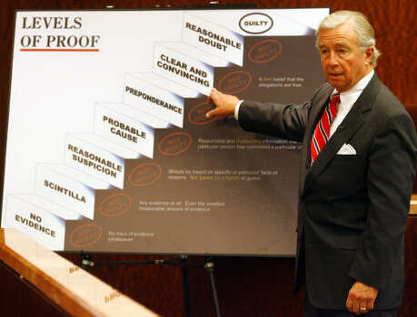 Dick DeGuerin displays a chart indicating levels of certainty needed for a guilty verdict in a criminal trial during his closing arguments, Nov. 14. Photo: Steve Ueckert, Chronicle