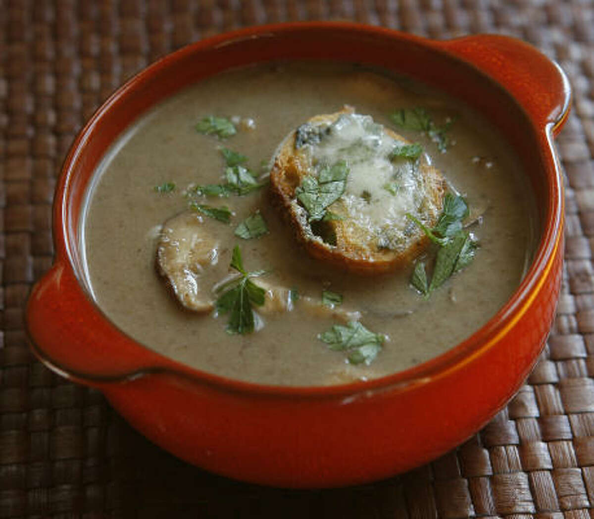 Wild mushroom soup You can use one or several kinds of wild mushrooms for this easy soup from Denis Soriano of Grand Cafe. [recipe]