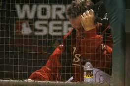 Phil Garner looks down in the dugout during the ninth inning of Game 4 of the World Series. The Astros lost, 2-1 in extra innings to allow the White Sox to finish the sweep and win their first title since 1917.