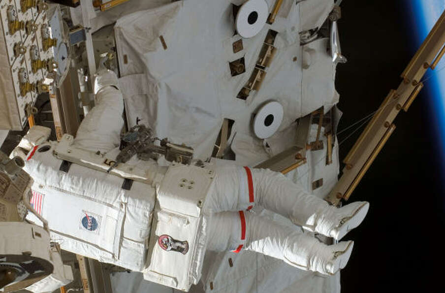 Rick Mastracchio works on the space station Wednesday.