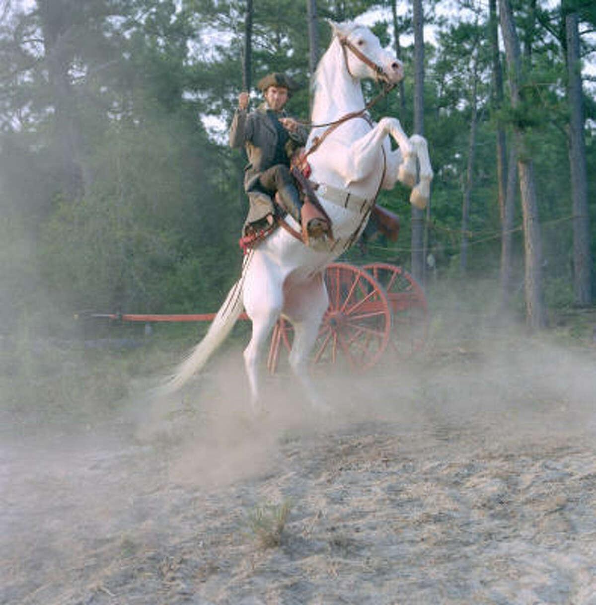 2004: Dennis Quaid in The Alamo. Film Location: Near Milton Reimers Ranch Park, Austin