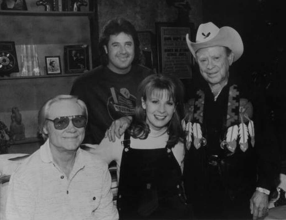 George Jones welcomed guests Vince Gill, Patty Loveless and Little Jimmy Dickens (on the premiere of The George Jones Show on the Nashville Network. Photo: THERESA MONTGOMERY