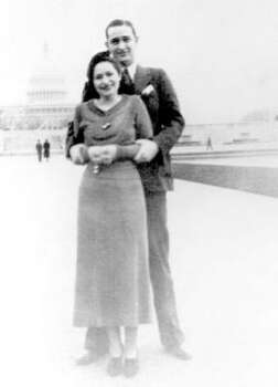 Three years after their whirlwind courtship and marriage, Lady Bird and Lyndon Johnson traveled to Washington in 1937 after he was elected to Congress. Photo: Chronicle File