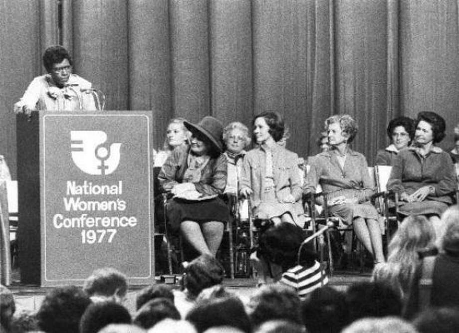 U.S. Rep. Barbara Jordan, D-Houston, gives the keynote address at the 1977 National Women's Conference in Houston as Bella Abzug and, from left, first ladies Rosalynn Carter, Betty Ford and Lady Bird Johnson listen. Photo: Chronicle File