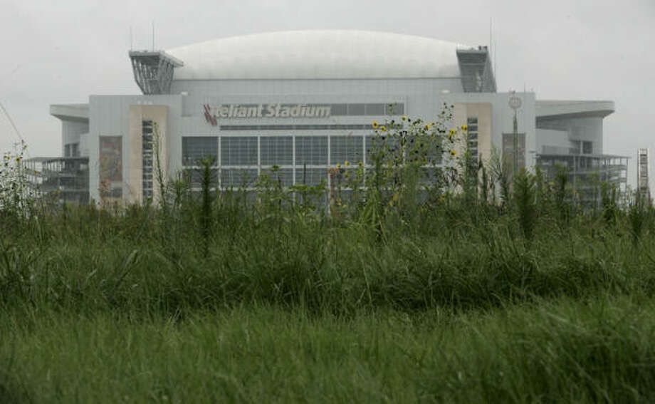 Reliant Stadium rises above the weeds growing at the former site of AstroWorld. Photo: Johnny Hanson, For The Chronicle