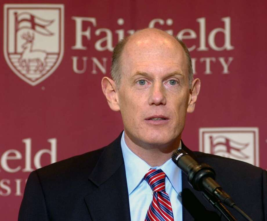 Fairfield University's women's basketball coach Joe Frager speaks at a press conference at the Barone Campus Center in April 2007.