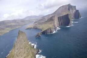 An aerial view of the Faeroe Islands, halfway between Norway and Iceland in the north Atlantic Ocean.