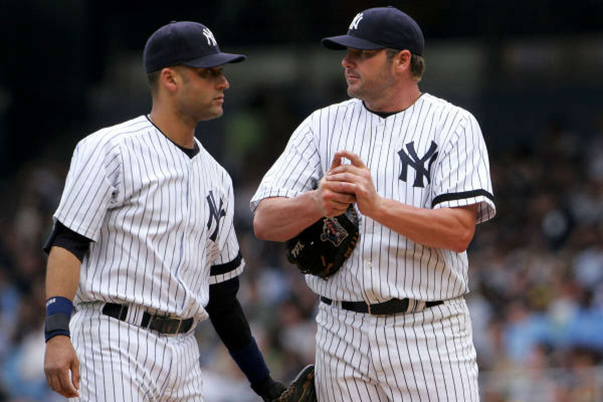 Derek Jeter, left, and Roger Clemens are both on this year's Baseball Hall of Fame ballot. Jeter is expected to be voted in easily in his first appearance on the ballot.