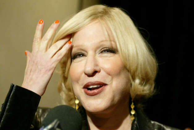 "Bette Midler - ""Gotta go fill the tub. I am exhausted. Hope Sandy doesn't do too much damage. Global warming costs big bucks!!!"" H/T Gawker.com Photo: DIANE BONDAREFF, Associated Press"