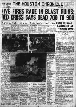 April 17, 1947: A photograph of the front page of the Houston Chronicle, which reported the Texas City disaster.