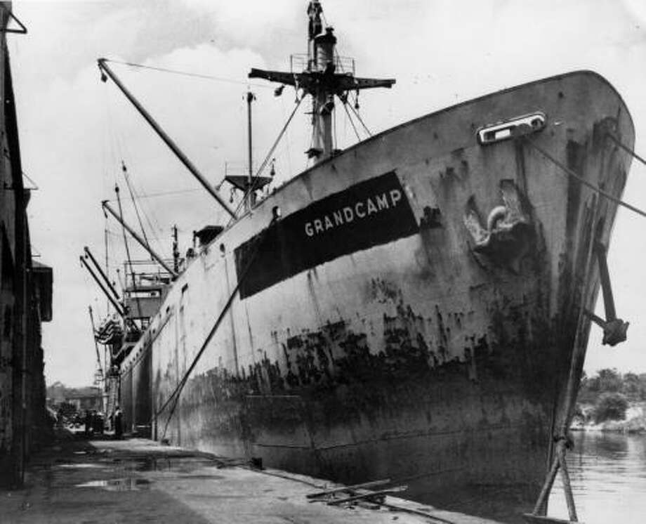 A photo of the SS Grandcamp freighter docked in Texas City, originally published in the 1940s. The French-registered vessel was carrying ammonium nitrate fertilizer that had previously been used in the production of explosive devices. Photo: Chronicle