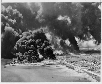 April 16, 1947: Nearly 600 people died when a freighter docked at Texas City exploded. The huge cloud of smoke created by the 1947 explosion of the French ship Grandcamp caused many to fear that an atomic bomb had detonated. Photo: Unknown, Houston Chronicle