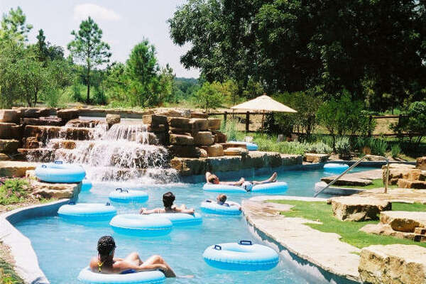 The Crooked River serves as the Hyatt Regency Lost Pines resort's water park. The 1,000-foot river, shaded by pecan and oak trees, includes pools, waterfalls, a water slide and sandy beaches.