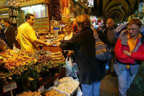 Visitors stroll through the Grand Bazaar in Istanbul.