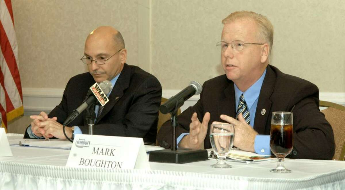 The Greater Danbury Chamber of Commerce hosted a Danbury Mayoral Debate Wednesday at the Holiday Inn in Danbury. Left is Democrat Gary Goncalves, right is incumbant Republican Mayor Mark Boughton Wednesday, Oct. 14, 2009