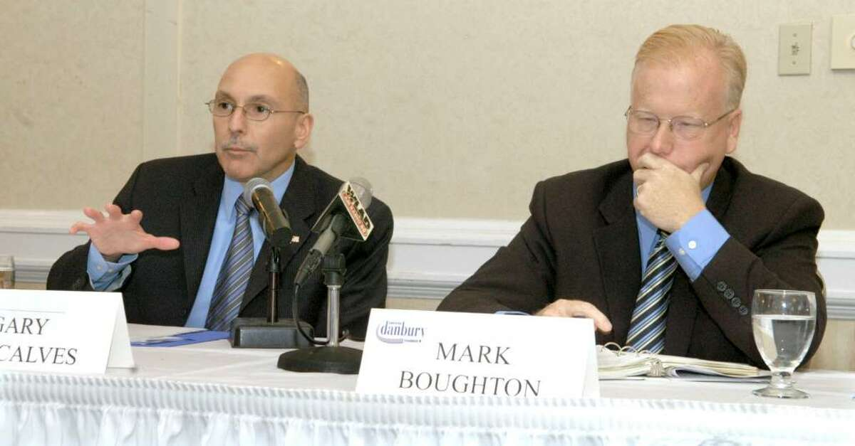 The Greater Danbury Chamber of Commerce hosted a Danbury Mayoral Debate Wednesday at the Holiday Inn in Danbury. Left is Democrat Gary Goncalves, right is Republican incumbant mayor Mark Boughton Wednesday, Oct. 14, 2009