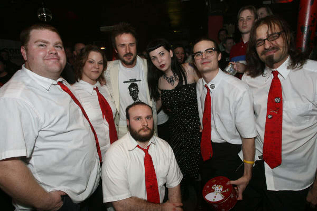 David Arquette and members of The Black Math Experiment pose Tuesday night at The Proletariat.