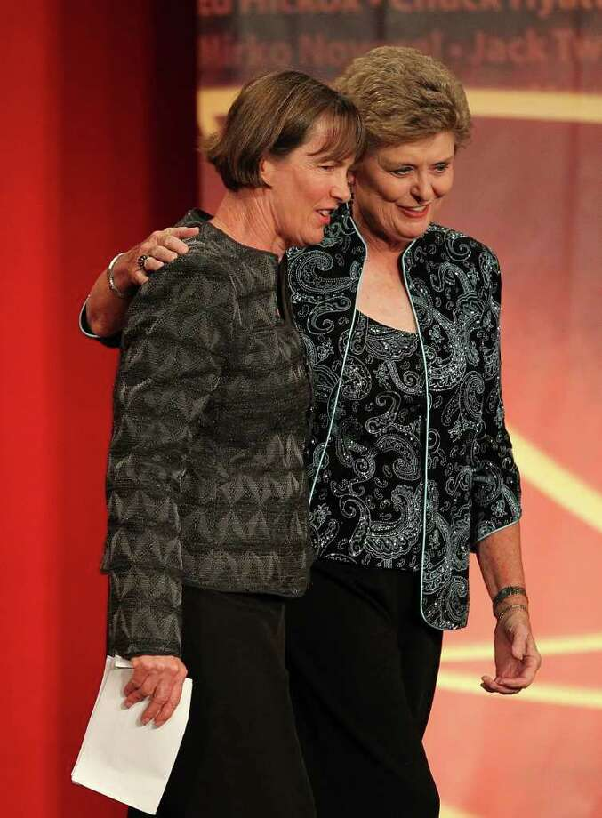 SPRINGFIELD, MA - AUGUST 12: Tara VanDerveer (L) is hugged by Hall of Fame Coach Jody Conradt during the Basketball Hall of Fame Enshrinement Ceremony at Symphony Hall on August 12, 2011 in Springfield, Massachusetts. (Photo by Jim Rogash/Getty Images) Photo: Jim Rogash