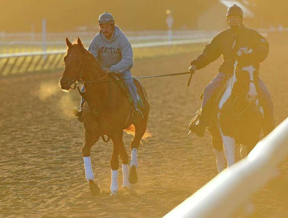 Drosselmeyer, left is assisted during morning exercise by trainer Bill Mott, right on the Oklahoma Training track adjacent to the Saratoga Race Course in Saratoga Springs, N.Y. Aug. 12, 2011.  (Skip Dickstein / Times Union) Photo: SKIP DICKSTEIN