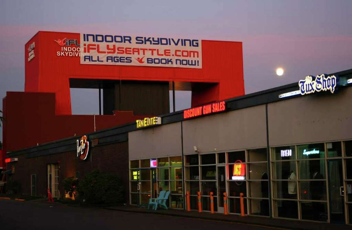 iFly Seattle indoor skydiving is shown in a Tukwila strip mall off Interstate 405. The towering structure houses one of the largest recirculating wind tunnels in the U.S.
