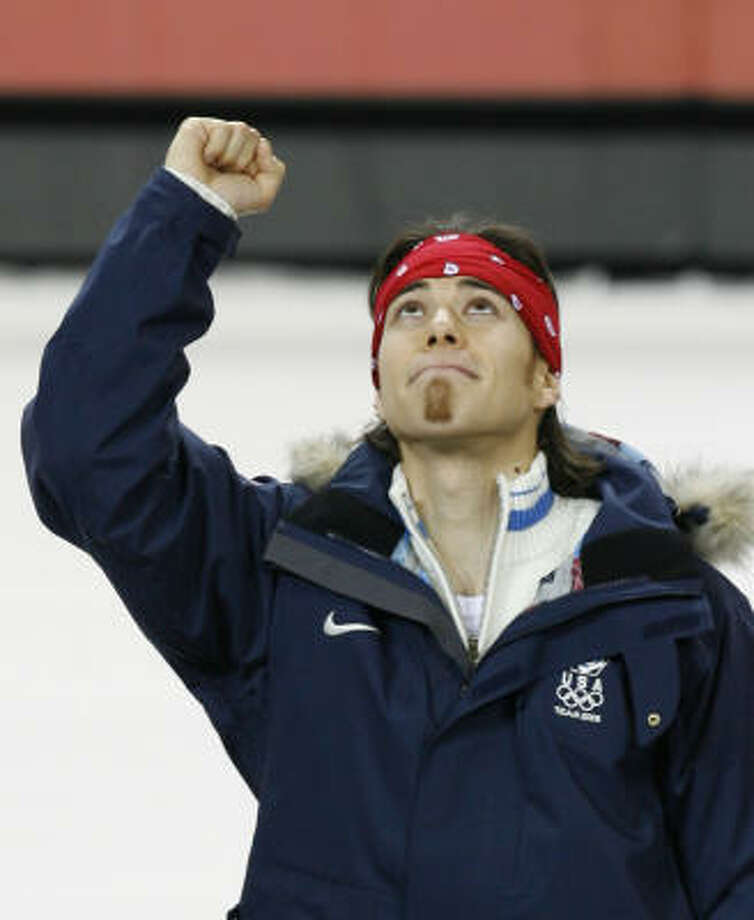 Apolo Anton Ohon of the U.S. looks up after winning the gold medal in the men's 500-meter short track speedskating event at the Olympic Winter Games Saturday. Photo: KEVIN FUJII, CHRONICLE