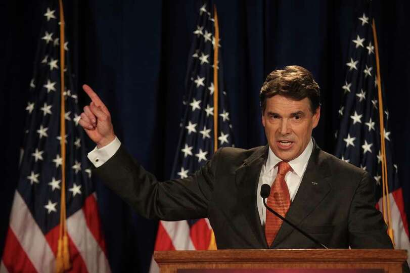 Governor Rick Perry speaks to participants of the RedState Gathering and announces his run for Presi
