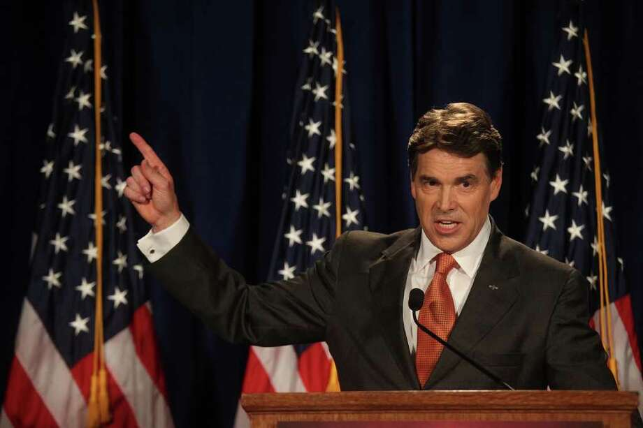 Governor Rick Perry speaks to participants of the RedState Gathering and announces his run for President of the United States at the Francis Marion Hotel in Charleston, SC on Saturday, August 13, 2011. Photo: LISA KRANTZ, LISA KRANTZ/lkrantz@express-news.net / SAN ANTONIO EXPRESS-NEWS