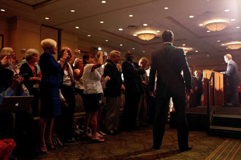 Governor Rick Perry waits offstage as he is introduced to give his speech to announce his campaign for President of the United States during the RedState Gathering at the Francis Marion Hotel in Charleston, SC on Saturday, August 13, 2011. Photo: LISA KRANTZ, LISA KRANTZ/lkrantz@express-news.net / SAN ANTONIO EXPRESS-NEWS