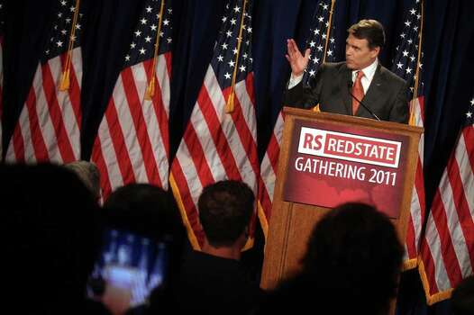 Governor Rick Perry speaks to participants of the RedState Gathering and announces his run for president of the United States at the Francis Marion Hotel in Charleston, S.C., Aug. 13, 2011. Photo: LISA KRANTZ, LISA KRANTZ/lkrantz@express-news.net / SAN ANTONIO EXPRESS-NEWS