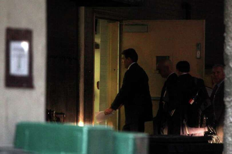 Governor Rick Perry arrives at the Francis Marion Hotel in Charleston, SC where he is expected to an