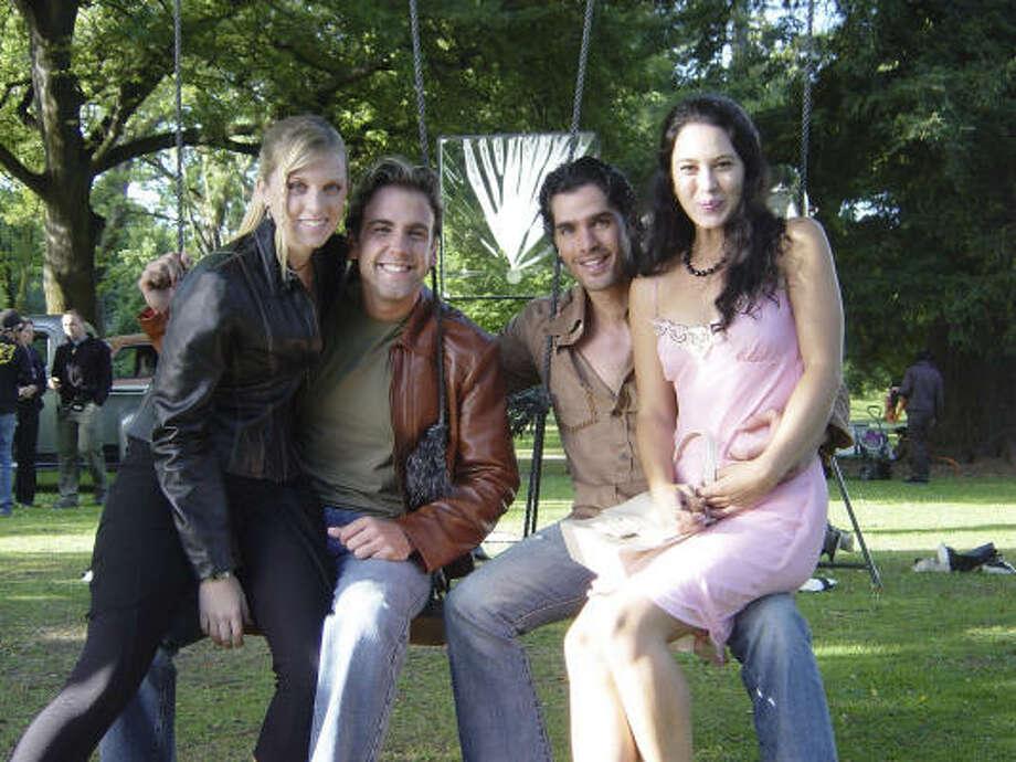 Tara Leniston, from left, Carlos Ponce, Eduardo Verastegui and Ayse Tezel star in Meet Me In Miami. Photo: Servant Entertainment