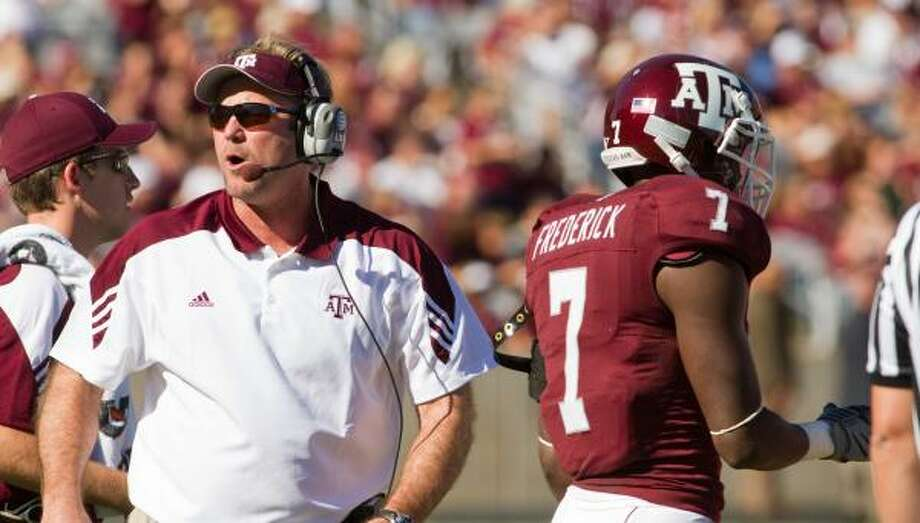 "Under Tim DeRuyter's guidance, Texas A&M put up ""Wrecking Crew"" showings in November triumphs. Photo: Texas A&M Athletics"