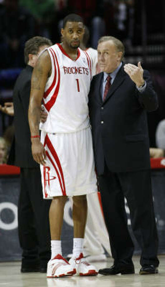 Rockets coach Rick Adelman said there is still no timetable on Tracy McGrady's return. Photo: Kevin Fujii, Chronicle