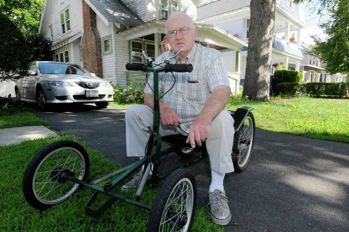 Joe Fitzgerald on his quadricycle or