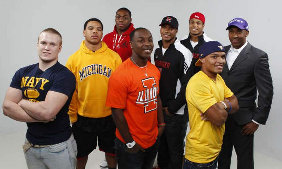 From left to right: Grant Clifton (Navy), Kellen Jones (Michigan), Givens Price (Nebraska), Donovonn Young (Illinois), Charles Jackson (Nebraska), David Santos (Nebraska), Dustin Garrison (West Virginia), and Christian Jones (Northwestern) are all headed out of state. Photo: Melissa Phillip, Chronicle