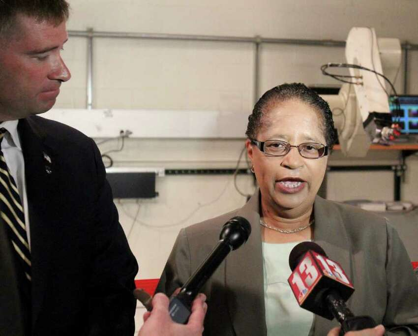 RPI President Shirley Ann Jackson is shown with Congressman Chris Gibson in August. (Times Union archive)