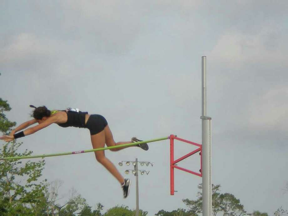 Lexie Schachne clears the bar at the U.S. World Youth Trials at the Doug Shaw stadium in Myrtle Beach, SC. Schachne will be a captain for the Staples girls indoor and outdoor track teams this year and cleared 12-1.5 at the trials in finishing second. Photo: Contributed Photo