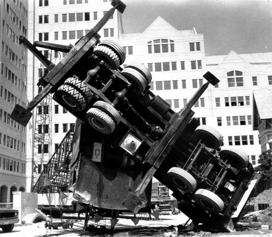 Aug. 26, 1987: A construction crane and boom flipped over at the Canterbury Green development site in Stamford. Photo: File Photo