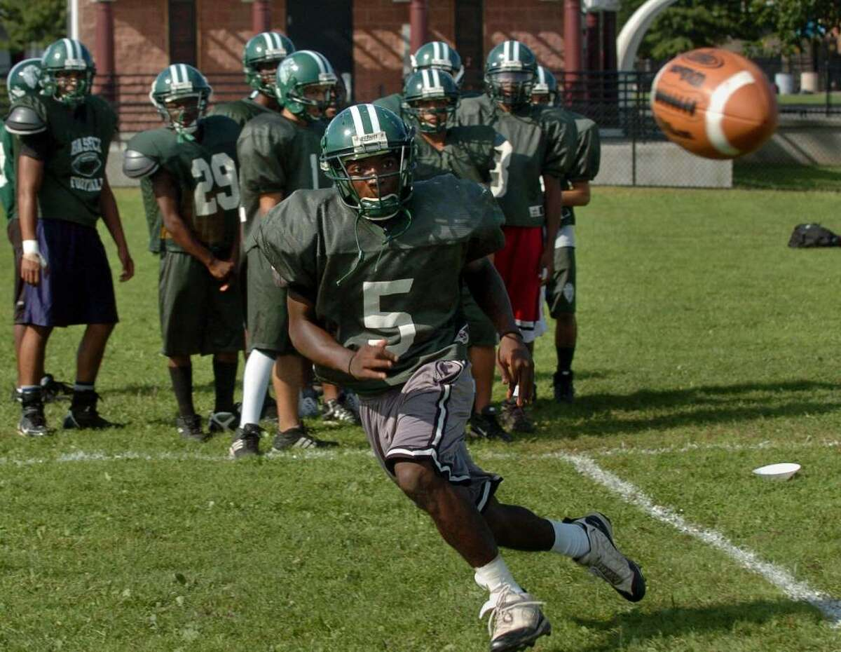 Bassick HS football player Jacquii Tuck in action during practice Sept. 03, 2009 in Bridgeport, CT.