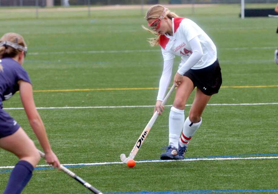 Greenwich's Storm Kodde in game action as the Greenwich girls field hockey team hosts Wilton Wednesday afternoon, Oct. 14, 2009. Photo: Keelin Daly / Greenwich Time