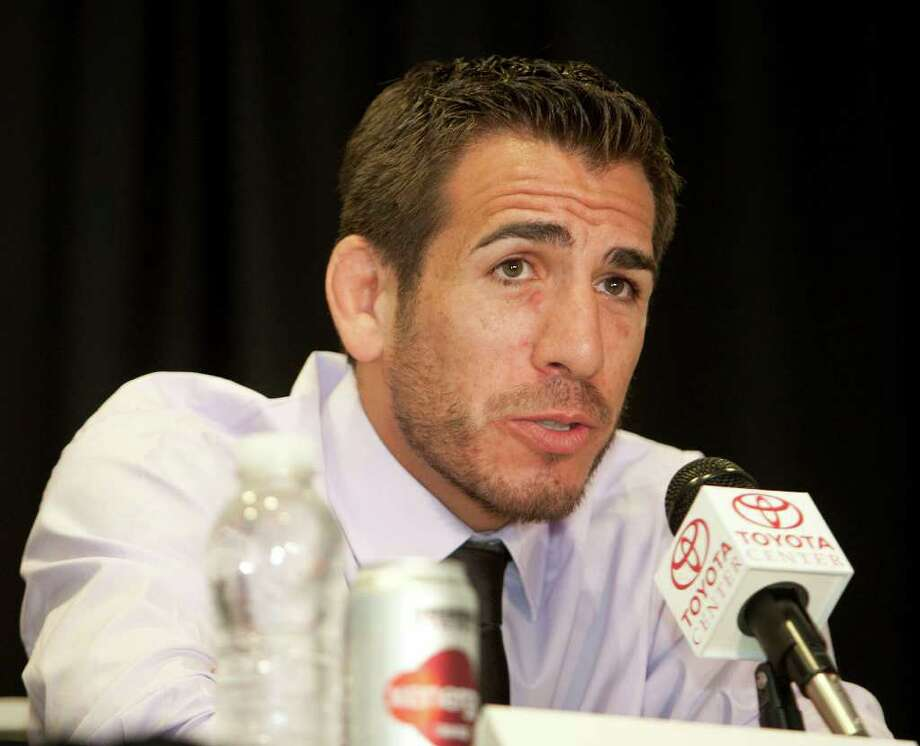 UFC (Ultimate Fighting Championship) fighter Kenny Florian speaks during a press conference to announce the fight card for UFC 136 which will be held in Houston on October 8th, at the Toyota Center Tuesday, Aug. 16, 2011, in Houston. Photo: James Nielsen, Chronicle / © 2011 Houston Chronicle