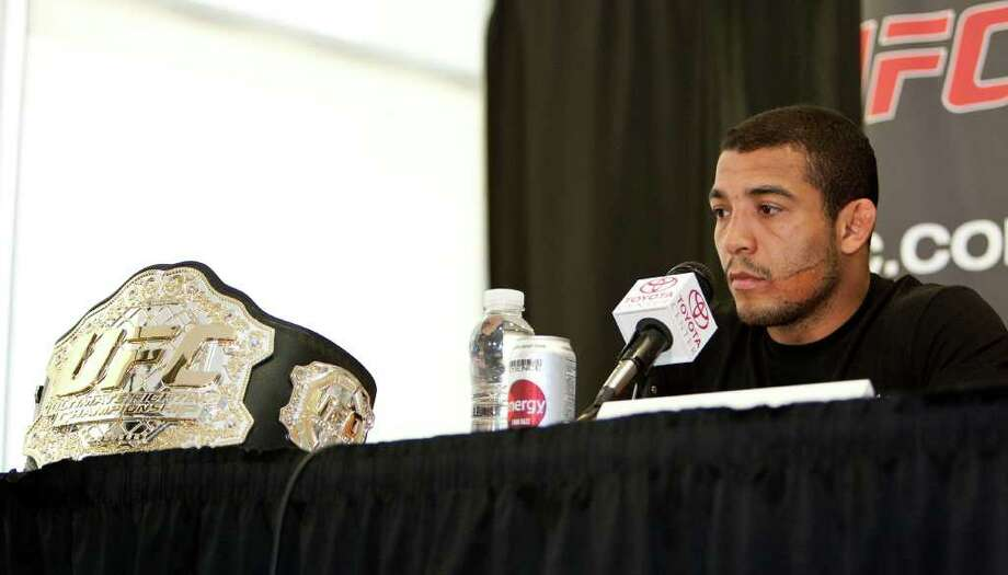 UFC (Ultimate Fighting Championship) UFC Featherweight Champion Jose Aldo during a press conference to announce the fight card for UFC 136 which will be held in Houston on October 8th, at the Toyota Center Tuesday, Aug. 16, 2011, in Houston. Photo: James Nielsen, Chronicle / © 2011 Houston Chronicle