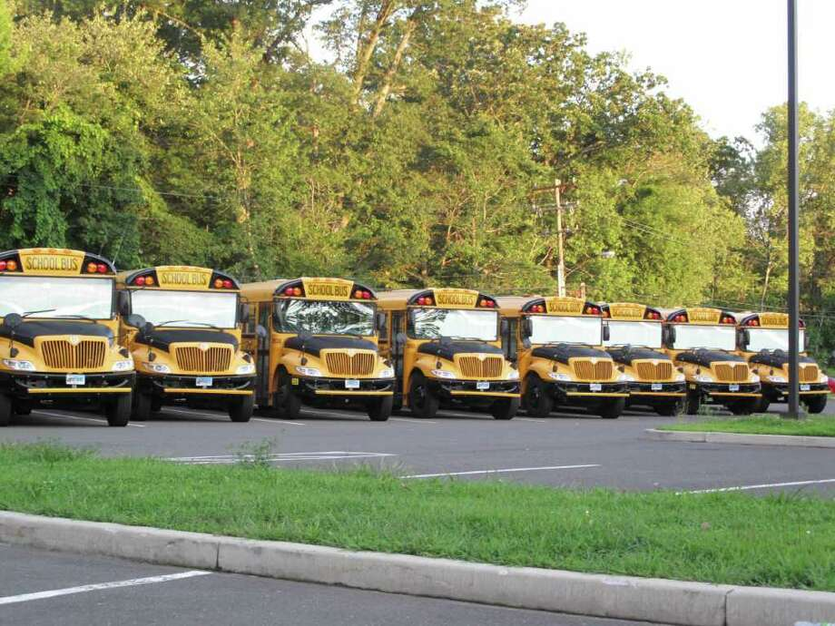 The town is considering bringing in a new hybrid school bus with the help of a state grant for a pilot program as step towards lower emission in New Canaan. Photo: Paresh Jha