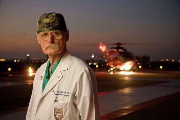 Dr. Red Duke, on the Life Flight Helipad at Memorial Hermann - Texas Medical Center on June 2, 2008.  © 2008 Robert Seale.  Robert Seale Photography www.robertseale.com 832-654-9572