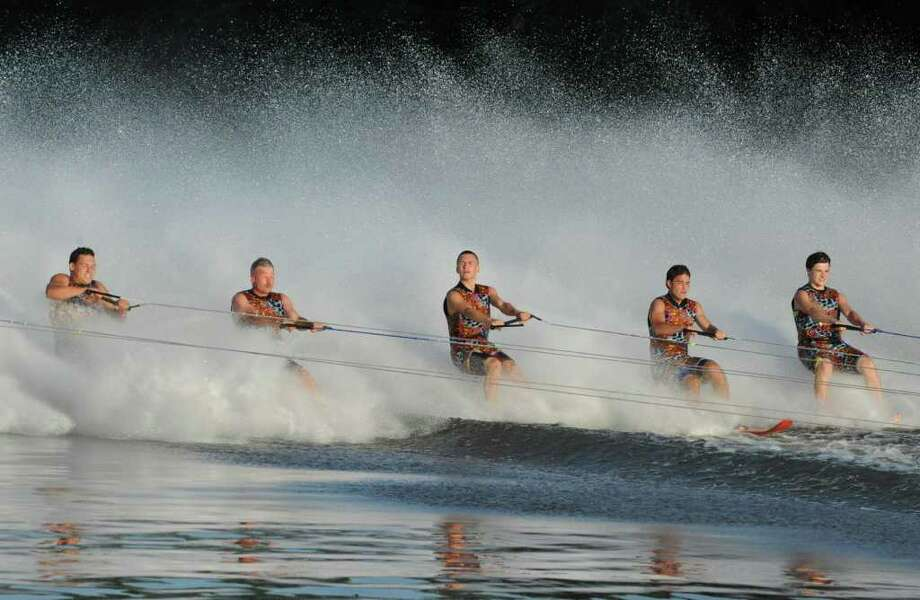 The U.S. Water Ski Show Team performs stunts on the Mohawk River  just behind Jumpin' Jack's Drive-In in Scotia., N.Y. on Tuesday, Aug. 16, 2011. (Lori Van Buren / Times Union) Photo: Lori Van Buren