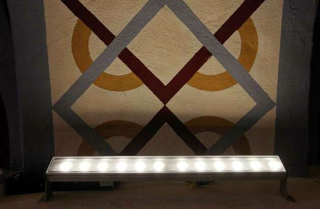 The LED lighting inside the Mission San José church Aug. 15, 2011. Photo: EDWARD A. ORNELAS, Edward A. Ornelas/Express-News / © SAN ANTONIO EXPRESS-NEWS (NFS)
