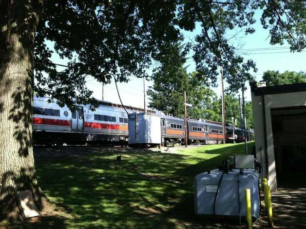 A Metro North Train collided with a car Wednesday morning in Darien at Hoyt and Camp streets. Photo by Kristen Riolo. Photo: Contributed Photo
