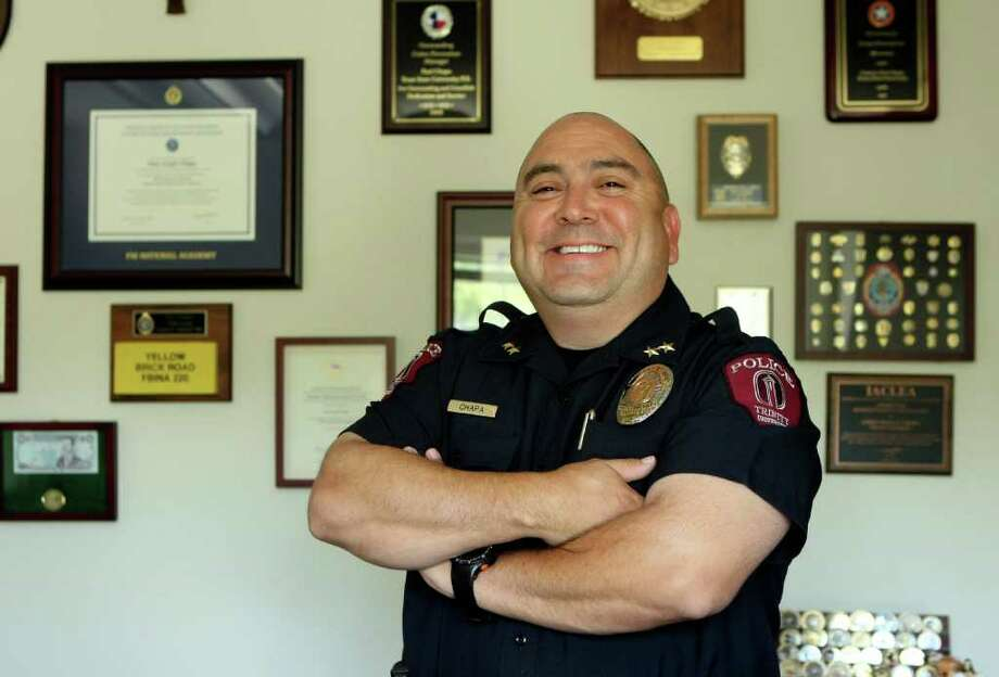 Paul J. Chapa is the police chief at Trinity University who recently won an award for his work on campus, including starting new safety programs that get the students more engaged in what's happening on campus. Photo: HELEN L. MONTOYA, HELEN L. MONTOY/hmontoya@express-news.net / SAN ANTONIO EXPRESS-NEWS