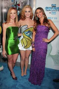 "Jayma Mays, left, Katy Perry and Sofia Vergara, right, attend the premiere of ""The Smurfs"" at the Ziegfeld Theatre on Sunday, July 24, 2011 in New York. Photo: AP"