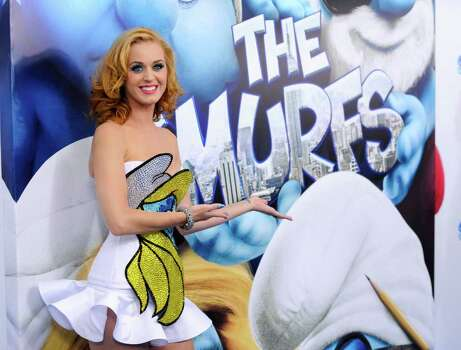 "Singer Katy Perry attends the premiere of ""The Smurfs"" at the Ziegfeld Theatre on Sunday, July 24, 2011 in New York. Photo: AP"